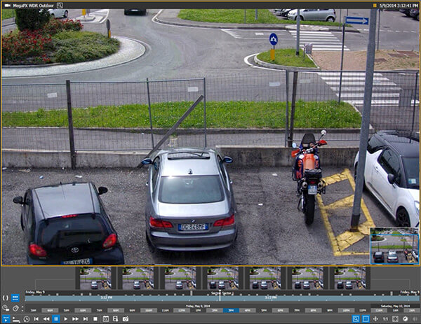 Video surveillance thumbnails are seen in video management software