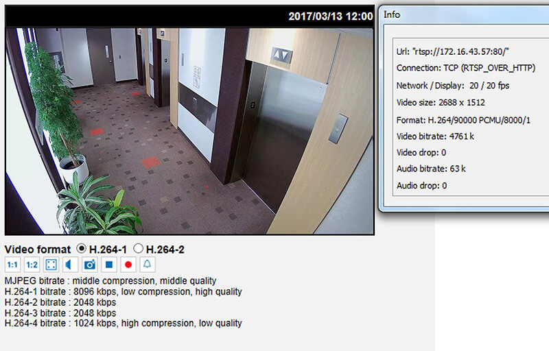 A snapshot of the IP cameras settings on a March Networks ME4 IR MicDome camera