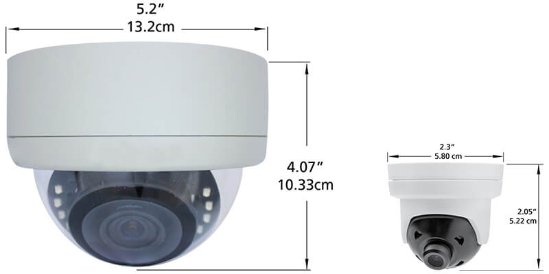 an indoor dome security camera that is 5 inches in diameter, compared to a small discreet IR dome surveillance camera that is 2.3 inches in diameter.