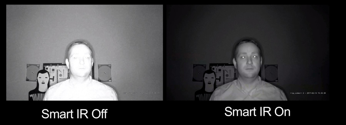 a comparison of nighttime surveillance video featuring a man's face is seen showing IR on and IR off on the camera.