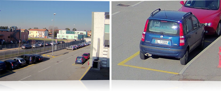 A wide angle image of a parking lot, beside an image of a car with a visible license plate