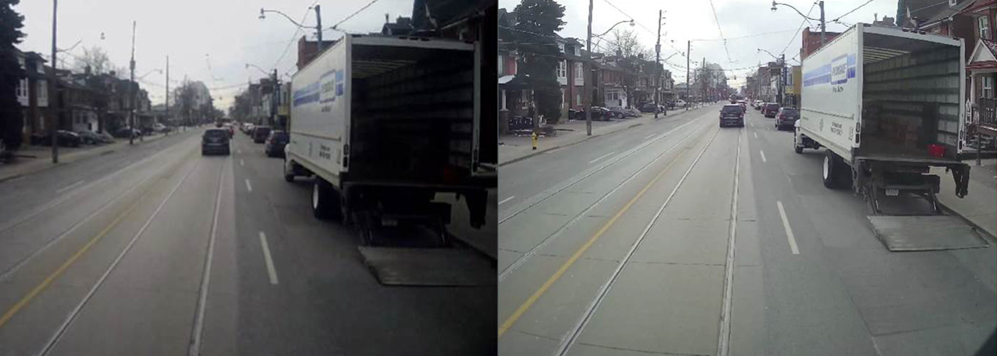 Two surveillance images showing a roadway with a truck with an open bay parked on the right side of the street. One image is bright and sharp, allowing you to see inside the back of the truck. The other image is dark with less detail.