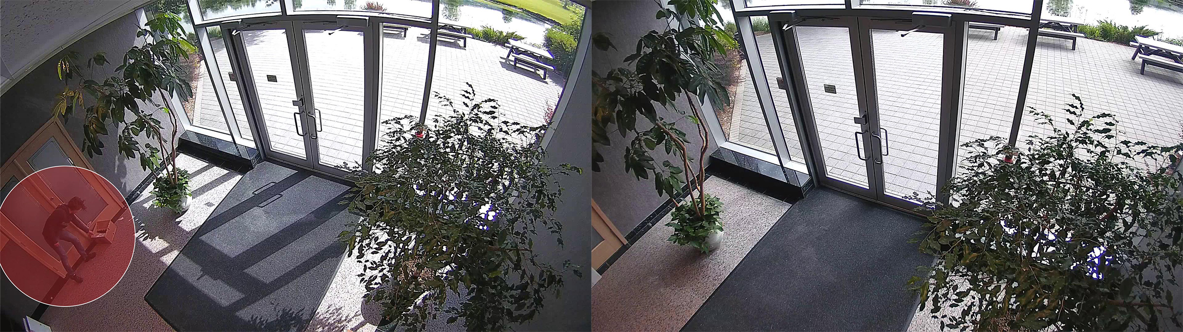 two surveillance images of a building lobby. One image is wider and captures more detail.